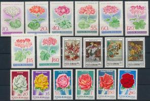 1968-1979 35 Flower stamps + 1 block, 1968-1979 35 klf Virág bélyeg, közte teljes sorok + 1 blokk 2 stecklapon