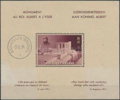King Albert Memorial block (gum disturbance, discolored), Albert király emlékmű blokk (gumihiba, elöl elszineződött)