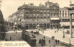 Bordeaux, Cours de l'Intendance et Place de la Comédie, Nouvel Hotel / Comedy square, Hotel, restaurant, tram with Olibet Biscuits advertisment