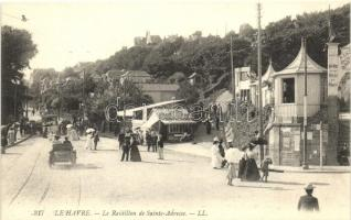 Le Havre, La Raidillon de Sainte-Adresse, Boulangerie Flamande / street with automobile, tram, Flemish bakery