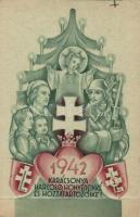 1942 WWII Hungarian Christmas greeting, foldable, 1942 Karácsonya Harcoló honvédeinké és hozzátartozóiké; hajtogatható, nem képeslap beosztású lap