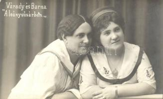 """Hungarian actress and actor, Váradi and Barna, Váradi és Barna """"A leányvásárban""""; Szamossy Ferencz fényképészeti műterme"""