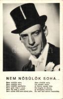 Latabár Kálmán Hungarian actor, Latabár Kálmán, 'Nem nősülök soha...' dal az 'Egy szoknya egy nadrág' című filmből, Dalkosképek No. 39