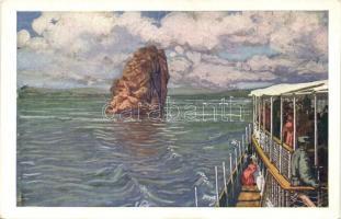 Báziás, Bazias; a Babakáj-szikla gőzhajóról nézve / Danube seen from steamship (EK)