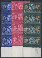 1965 100 éves a Nemzetközi Távközlési Unió (ITU) sor ívszéli négyes csíkokban Mi 163-165