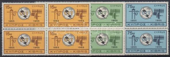 1965 100 éves a Nemzetközi Távközlési Unió (ITU) sor négyes tömbökben Mi 253-255