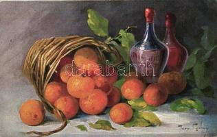 Fruit still life, T.S.N. Serie 1488., s: Mary Golay, Gyümölcs csendélet, T.S.N. Serie 1488., s: Mary Golay