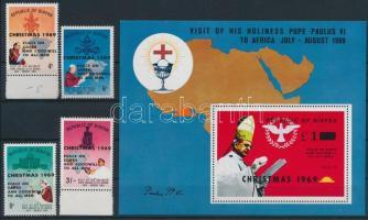 Pope Paul VI's visit overprinted Christmas set + block VI. Pál pápa látogatása karácsonyi felülnyomott sor + blokk