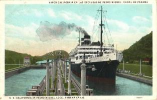 Panama Canal, SS California in Pedro Miguel Lock