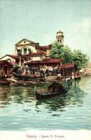 Venice, Venezia; Squero S. Trovaso, litho