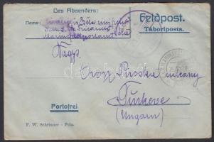 1916 Tábori posta levél haditengerészeti postával Post SMS Eh. Friedrich + MFP POLA - Túrkeve