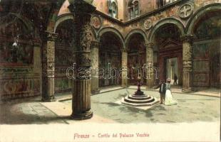 Firenze, Florence; Cortile del Palazzo Vecchio / palace courtyard, litho
