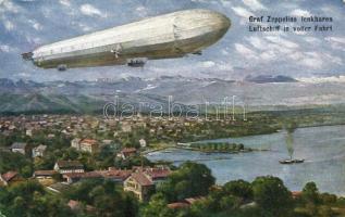 'Graf Zeppelins lenkbares Luftschiff in voller Fahrt' / Count Zeppelin's airship (worn edges), Gróf Zeppelin léghajó (kopott szélek)