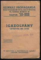 1938 Színházi Propaganda igazolvány, arcképes, hiányos, 11x7cm