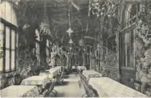 Schwelm, Schwelmer Brunnen; Restaurant zur Post G. Feldhaus, Wintergarten / restaurant, winter garden, interior