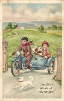 Name Day, children couple in a motorbicycle Erika Nr. 1270., Névnap, gyerekek oldalkocsis motorral, Erika Nr. 1270.