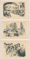 Folyamőr matrózok - 3 db modern, fekete-fehér, grafikus képeslap, Hungarian river police Mariners - 3 modern, black & white, graphic postcards