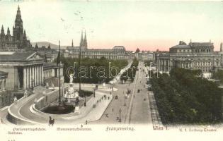 Vienna, Wien I. Parlamentsgebäude, Monumentalbrunnen, Hofburg Theater / Franzensring avenue