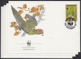 1987 WWF papagájok sor Mi 421-424 4 db FDC-n