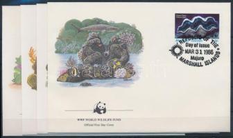1986 WWF: Csigák és kagylók sor Mi 73-76 4 db FDC-n