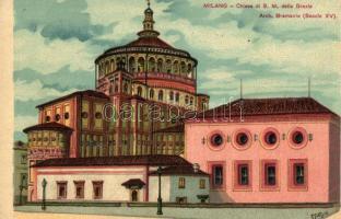 Milano, Milan; Chiesa di S. M. delle Grazie / church, litho, artist signed