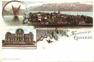 Lausanne, Barque de Lac, Le Tribunal Federal, birds, floral, litho