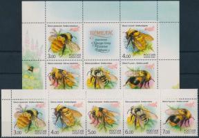 2005 Méhek sor ívsarki vízszintes 5-ös csíkban Mi 1266-1270 + blokk 81