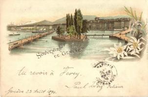 Geneva, Geneve; floral, Carl Künzli No. 17 litho