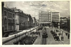 Belgrade, Royal Square, Bourse, Chamber of Commerce, tram