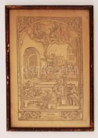 cca 1820 Hans Sebald Beham (1500-1550) Merkúr gyermekei. Rotációs fametszet, papír, jelzés nélkül, üvegezett keretben. Foltos, kis szakadással. 25x35 cm. Egyes források szerint metszetet nem Beham, hanem Georg Pencz (cca. 1500-1550) készítette.