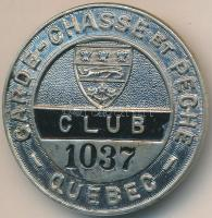 Kanada DN Garde Chasse et Peche Club 1037 festett fém jelvény hátlapon SCULLY LTD MONTREAL (38mm) T:2 Canada ND Garde Chasse et Peche Club 1037 painted metal badge with makers mark SCULLY LTD MONTREAL on the back (38mm) C:XF