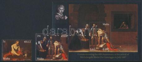 2007 Caravaggio sor Mi 1523-1524 + blokk Mi 38 díszcsomagolásban