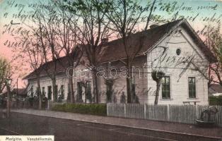 Margitta, Marghita; vasútállomás. Kiadja Pollák Lajos / Bahnhof / Gara / railway station (EB)