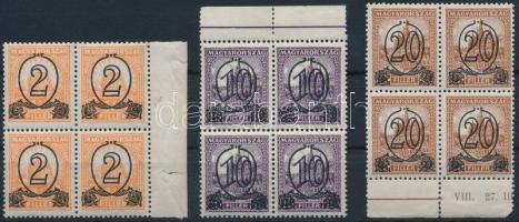 1931 Kisegítő bélyeg (I.) B 2f/3f, 10f/16f, 20f/25f ívszéli négyestömbökben (38.000) (apró ráncok / small creases)