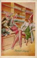 Humorous art postcard s: Kaszás Jámbor, Remek anyag!, s: Kaszás Jámbor