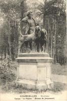 Courcelles, Chateau, Groupe Le Piqueur / Hunter statue