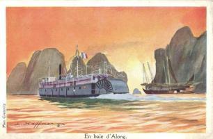 Along, bay, steamships, Max Cremnitz postcard s: L. Haffner (EK)