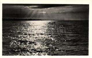 Balaton, Naplemente, csónakázók