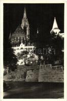Budapest I. Halászbástya és a Koronázó templom éjszaka, kivilágítva (EK)