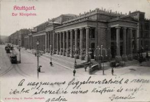 Stuttgart, Der Königsbau, trams, Emb.