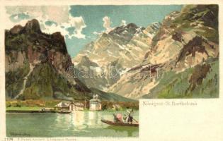 1899 Königsee, St. Bartholomae, Stuckers Kunstanstalt 7108. litho, artist signed (Rb)