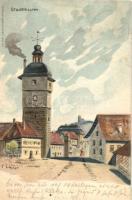 Lichtenfels, Stadtthurm / city tower, Lith. Anst. Klein & Volbert, litho s: F. Lehner (fl)