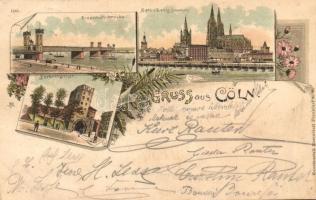 1897 Köln, Cöln, Cologne; Eisenbahnbrücke, Severingthor / railway bridge, gate, floral, Kunstantalt Rosenblatt litho (EK)