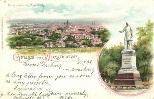 1899 Wiesbaden, Denkmal Kaiser Wilhelm I / statue, Kunstanstalt Aug. Finkenrath litho (EK)