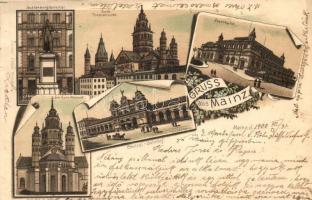 Mainz, Guttenbergdenkmal, Dom, Stadthalle, Central Bahnhof / statue, dome, town hall, railway station, floral, Ottmar Zieher litho