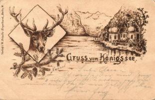 1898 Königsee, deer, Verlag von W. Schulz-Engelhardt, litho art postcard s: Hannel (EK)