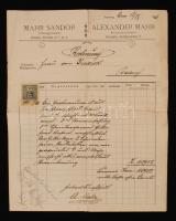 1911 Mahr Sándor pozsonyi kőfaragómester fejléces számlája