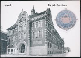 Miskolc Kir. kath. főgimnázium képeslap, azonos pecsétbélyegképpel, faximile