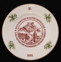 Hollóházi porcelán dísztányér, Megyei Nemzetiségi Nemzetközi dalostalálkozó felirattal, jelzett, hibátlan, 27cm