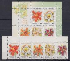 Flower corner stripe of 5 + block, Virág ívsarki ötöscsík + blokk